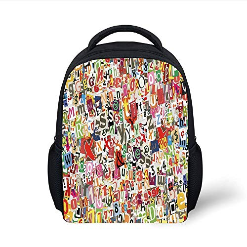 Kids School Backpack Old Newspaper Decor,Various Kinds Newpaper Magazine Letters Cutouts Alphabet Collection Decorative,Multicolor Plain Bookbag Travel Daypack