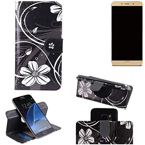 K-S-Trade® Schutzhülle Für Allview X4 Soul Lite Hülle 360° Wallet Case Schutz Hülle ''Flowers'' Smartphone Flip Cover Flipstyle Tasche Handyhülle Schwarz-weiß 1x
