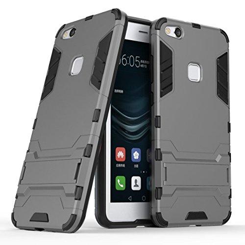 YHUISEN Huawei P10 Lite Case, 2 In 1 Eisen Rüstung Tough Style Hybrid Dual Layer Rüstung Defender PC + TPU Schutzhülle mit Stand Shockproof Case für Huawei P10 Lite ( Color : Silver ) Gray