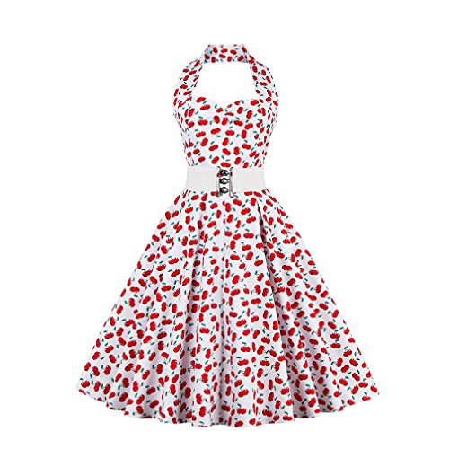 Frau Sommer Kleid Neckholder Vintage Dress Plus Size Red Polka Dot Gürtel Sexy Dress Party and Swing Vestidos, Cherryred, (Red Size Plus Polka Dot Kleid)