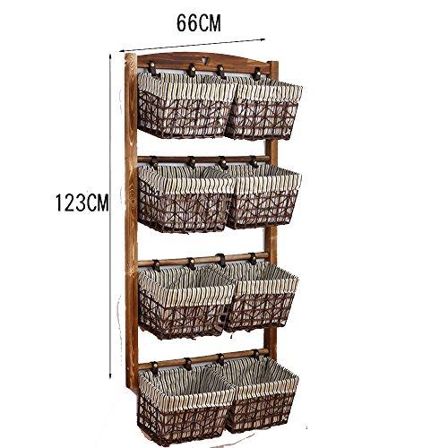 YNN Regal Massivholz Lagerung Wohnzimmer Tuch Kunst Regal Rattan Korb Buch Regal Schlafzimmer Multilayer 2 Schicht 3 Schichten 4 Schicht (größe : 4 Layer) -