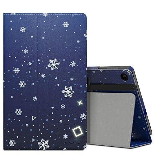 MoKo Étui Housse pour tablette Fire HD 8 - Fin et Pliable pour Tablette Fire HD 8 (6ème génération - modèle 2016), Bleu (Auto Réveil / sommeil) Flocon de Neige