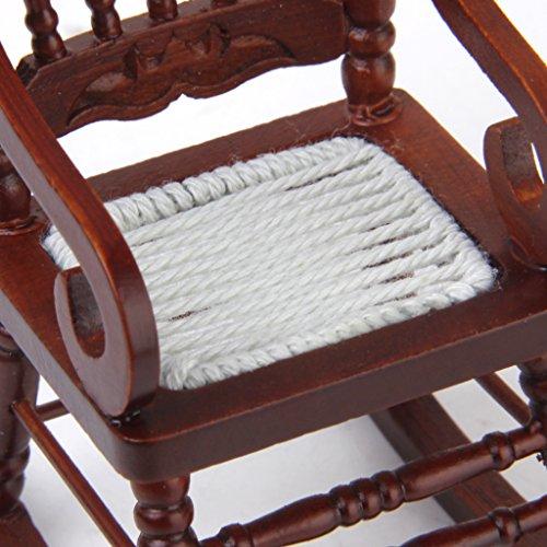 1/12 Miniatura Mobili Per Casa Delle Bambole, Sedia A Dondolo In Legno - Marrone