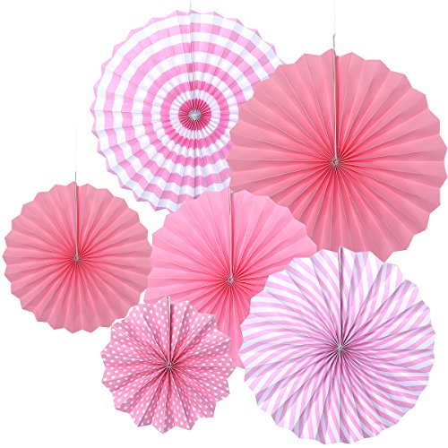 TOYMYTOY 6 Stück Rosa hängenden Papier Fans Seidenpapier Blumen für Geburtstag Party Hochzeit Dekoration -