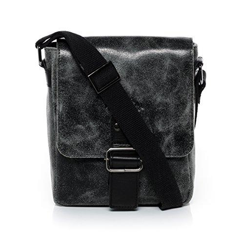 """SID & VAIN Messenger Bag HARVEY - Umhängetasche klein fit für tablet"""", iPad - Kuriertasche im Vintage-Look - echt Leder Distressed braun braun"""