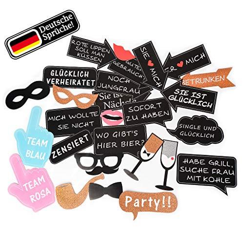 Trendico Deutsche Fotorequisiten | Photo Booth Hochzeit mit Deutschen Sprüchen | extra große Photobooth Accessoires| Fotoaccessoire| Starkes Papier |JGA