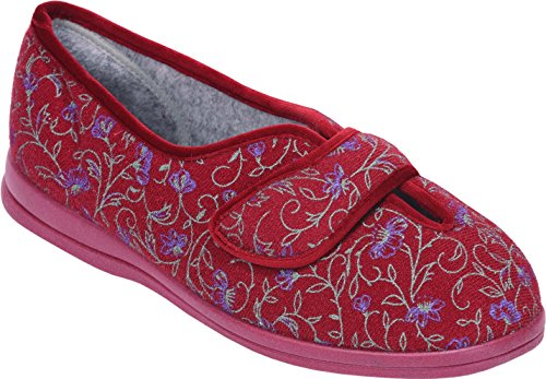 Cosyfeet Diane Hausschuhe - Besonders Geräumig/Extra Roomy (Breite Passform M+ Euro/5E+ Width Fitting UK) Wein Floral, Trilobal