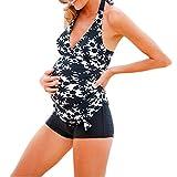 Damen Bedruckter Badeanzug, SHOBDW Neueste Plus Size Mutterschaft Tankinis Frauen Streifen Print Bikinis Badeanzug Beachwear Schwangere Bademode Anzug (XL, Schwarz)