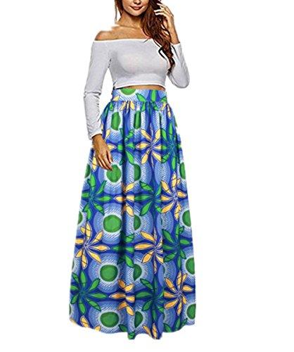 Gefaltete Polyester (Uideazone Damen Taschen Röcke Vintage Floral gefaltet Flared Swing Röcke Grün L)