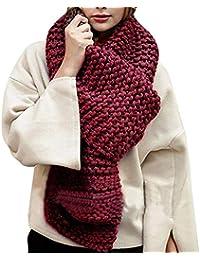 Manuelle Écharpe Épaisse Tricot Vintage Foulard Grosse Maille Chaud Couleur  Unie Automne Hiver Femme 1d8f356b50c