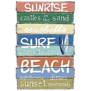 TrendLineMix Deko Schild Sunrise Surf Beach Höhe 60 cm farbig Bretterschild Plankenschild Wandschild Strandschild Sommer Party Surfer Mitbringsel Geschenkartikel