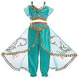 Eleasica Fille Aladdin Jasmine Princesse Cosplay Costumes 2pcs Ensembles épaule Nue...