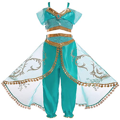 Eleasica Fille Aladdin Jasmine Princesse Cosplay Costumes 2pcs Ensembles épaule Nue Pantalons Conte de Fée Déguisement Vert Respirant Halloween Noël Anniversaire Carnaval Fête Cosplay, Vert, 150 cm
