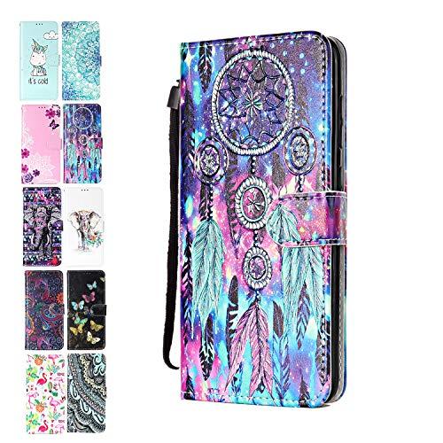 ANCASE Lederhülle kompatibel für Motorola Moto G7 Play Hülle Bunter Traumfänger Muster Handyhülle Flip Case Cover Schutzhülle mit Kartenfach Leder Tasche für Mädchen Damen