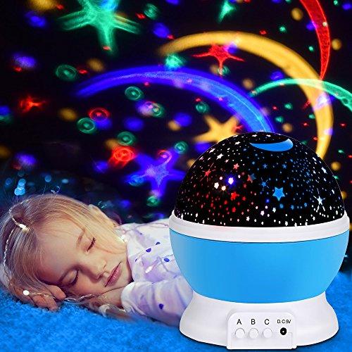 Lámpara de luz nocturna, Omitium estrellas proyector romántico Luz nocturna LED Giro de 360 grados 4 LED Lámparas de luz con cable USB para dormitorio, cumpleaños, fiestas, niños (Azul)