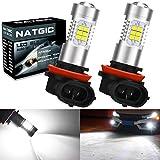 NATGIC H11 H8 H9 Bombillas de luz antiniebla LED Xenon White 2835 SMD Chipsets con proyector de lente para luces de circulación diurnas, 10-16V 10.5W (paquete de 2)