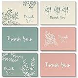 meilleurs vœux de papier 48-pack Thank You Cartes de vœux Bulk Box Set, vierge à l'intérieur, 6Floral et feuillage Designs, Rose, Beige, Vert, enveloppes incluses, 48comprimés 10,2x 15,2cm