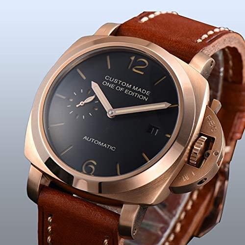 CHASO Uhr 42Mm Automatik Parnis Silber Edelstahl Uhr Schwarzes Zifferblatt Qualität Braunes Lederband Kalender Leuchtzeiger 4