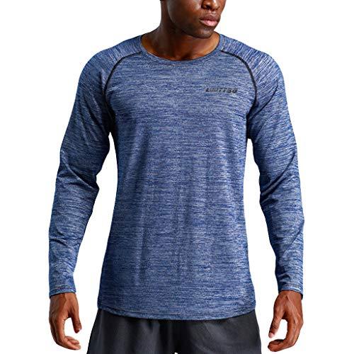 DNOQN Polo Shirt Männer Longsleeve Weiß Herren New Fitness Training Kleidung Langarm Bluse Outdoor Sport Bluse Top S