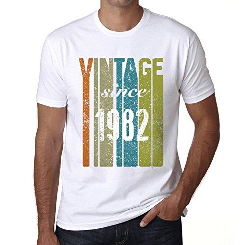 1982, Vintage Since 1982 Herren T-shirt Weiß Geburtstag Geschenk (1982 Herren Vintage T-shirt)