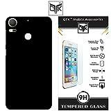 HTC Desire 10 Pro Tempered Glass + Back Cover - TheGiftKart HD Tempered Glass + Matte Velvet Feel Hard Back Cover (Jet Black)