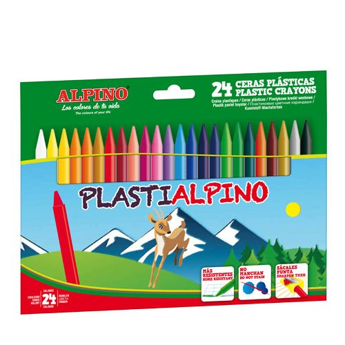Alpino 946216 - Pack de 24 ceras plásticas, multicolor