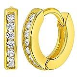 In Season Jewelry Baby Säugling Kleinkind - Creolen Ohrringe Klar 18k Vergoldet Kristall Klein 10mm