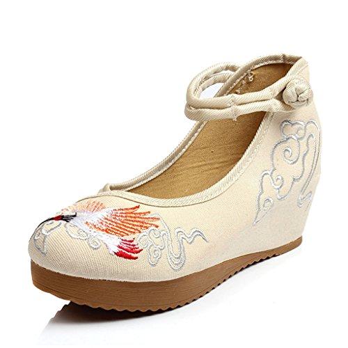 Traumfänger Frauen Chinesische Bestickte Schuhe Tanzen Ballett Casual Loafers Flache Tuch Schuhe (Farbe : Beige, Größe : 38) (Größe 10-plattform Turnschuhe)