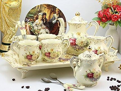 ufengke® 9 Pieces Creative European England Luxury Hand Painted Red And Gold Flower Ivory Porcelain Ceramic Coffee Set Tea Set Tea
