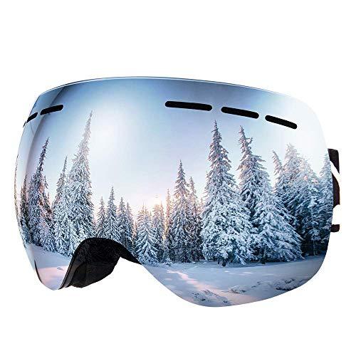 Bfull Skibrille Für Damen und Herren Kids Brillenträger Skibrille 100% OTG UV400 Anti-Fog UV-Schutz Skibrillen Snowboard Skibrille Schutz Ski Goggles (Gray-Silver Lens VLT 9.5%)