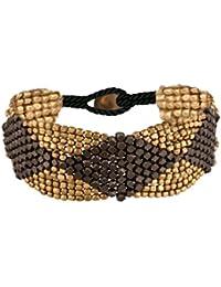 81stgeneration Gold Schwarz Tone Messing Diamant Muster Kleine Facettenperlen Armband