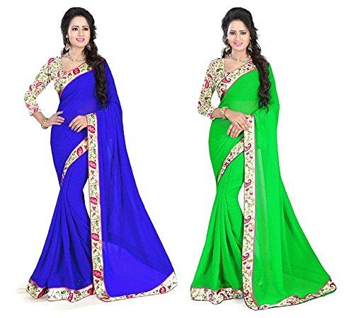 Aashi Saree Exclusive Combo Of Plain Chiffon Lacy Border Sarees (Blue & Light Green)