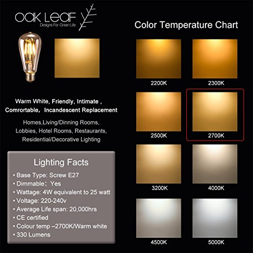 Edison Vintage LED-Lampe Oak Leaf Glühbirne, dimmbar Ersetzt 25W warmweiß – 2700K 330 Lumen [Energieklasse A+] - 6