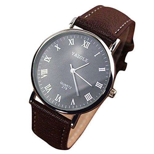 Hansee Armbanduhr, Quarz-analoge Uhr-Uhren der Luxusmode Kunstleder Männer wasserdicht Einfache Casual Watch Boys Sportuhren PU Leder Band Hübsch Quarz Analog Armbanduhr (Vintage Orient Kalender-uhr)