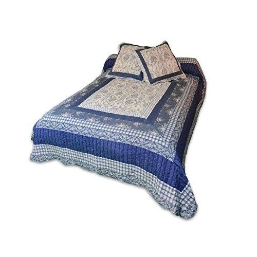 Soleil d'Ocre Couvre-lit boutis matelassé 2 Taies d'oreiller, Polyester, Bleu, 240x220 cm