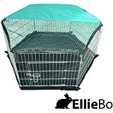 Ellie-Bo Laufstall und Gehäuse für innen, mit Dachnetz, für Kaninchen und Meerschweinchen, verzinkt, 6 Teile