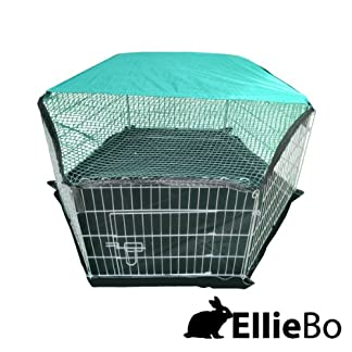 Ellie-Bo Indoor 6 Piece Galvanized Rabbit Enclosure Run with Roof Net and Base 8 Square Feet of Roaming Space 14
