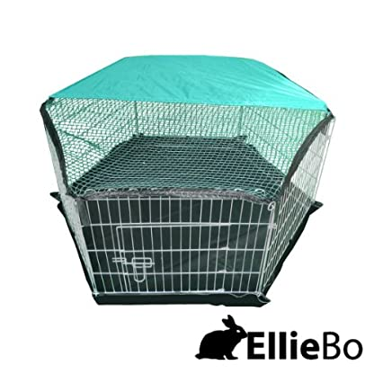 Ellie-Bo Indoor 6 Piece Galvanized Rabbit Enclosure Run with Roof Net and Base 8 Square Feet of Roaming Space 1
