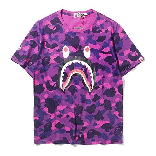 ZDFGHW434 Ape Bape Shirts|Bape Camouflage Shark Head Classic Cotton Short Sleeve T Shirt Black Purple Blue Camouflage Green