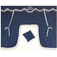 Set de 5piezas azul cortinas con borlas de color blanco Universal tamaño todos los modelos de camión cabina accesorios decoración tejido de felpa