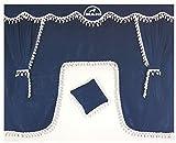 5-Teilig Set Blau Gardinen mit Weiß Bommeln UNIVERSAL GRÖSSE Alle Modelle Truck LKW Zubehör Dekoration Innenraum Vorhänge Plüsch Stoff