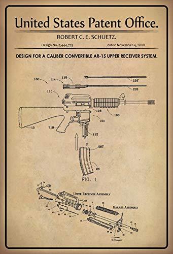 Generische Blechschild 30 x 20 cm U.S. Patent Office. - Design for a Caliba Convertible ar-15 Upper Receiver System - 2008 - Deko7