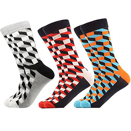 Hammia Herren Socken Business Socken Gestreift Kariert Gepunktet Mehrfarbig Bunt Modisch und Edel Feine Baumwolle Smart Design Calf Crew Socke Männer Art Patterned Casual Crew Socken Baumwollsocken (Casual Crew-socken)