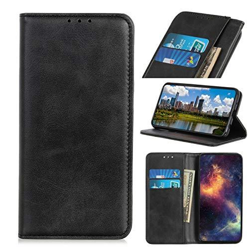 bagmaxx Wallet Case Echt Leder Handy Tasche Klapp Etui Schutz Hülle Magnetisch Innenfach Schwarz für Samsung Galaxy A50 Klapp-handy