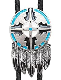 Western express - Bolo tie cravate cowboy Country Dreamcatcher Indien metal MADE IN USA - cordon cuir # BT-604