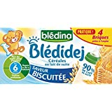 Blédina Bledidej Céréales Saveur Biscuité dès 6 mois 4 Briques x 250 ml- Lot de 2