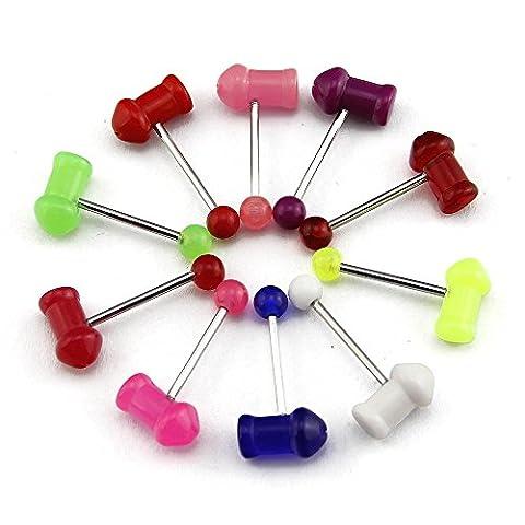 Bodya Lot de 10piercings colorés avec barre en acier inoxydable, boule et marteau en acrylique UV pour langue
