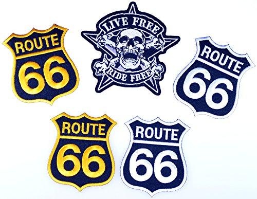 i-Patch - Patches - 0093 - Totenkopf - Schwarz - Live Free - Biker - Route 66 - Flicken - Aufnäher - Sticker - Badges - Bügelbild - Aufbügler - Iron-on - Applikation - Zum aufbügeln - Skelett - Skelett Biker-shirt