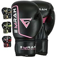 EMRAH - Guantes Boxeo Saco Sparring Entrenamiento Mitones Muay Thai Kick Boxing (12 OZ, Negro/Rosa)