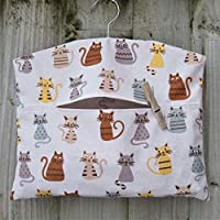 Cat Print Fabric Hanging Peg Bag